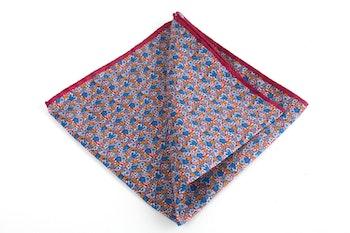 Floral Printed Silk Pocket Square - Burgundy/Light Blue