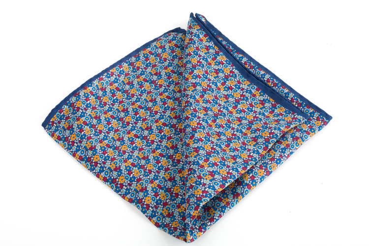 Floral Printed Silk Pocket Square - Navy Blue/Light Blue