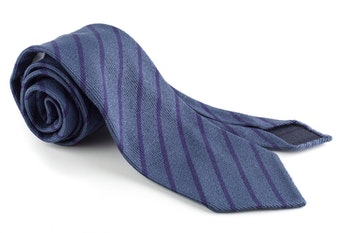 Wool/Silk Regimental Tie - Untipped - Light Blue/Navy Blue