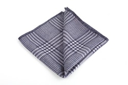 Plaid/Dots Silk Pocket Square - Double - Grey/White