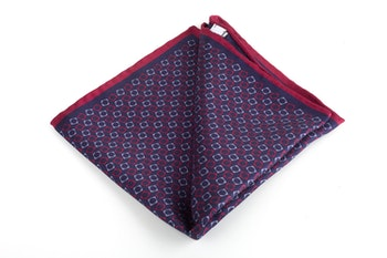 Squares/Solid Silk Pocket Square - Double - Navy Blue/Burgundy