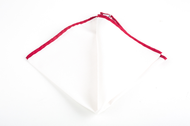 Candy Stripe Silk Pocket Square - White/Burgundy