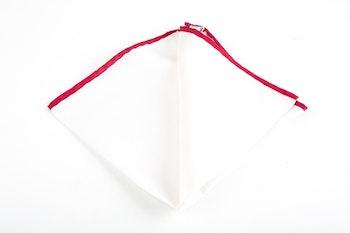 Candy Stripe Silk Pocket Square - White/Burgundy