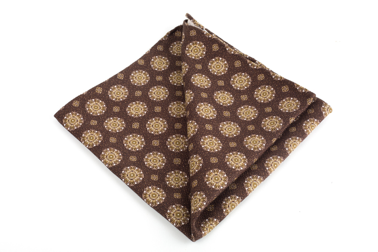 Medallion Printed Silk Pocket Square - Brown/Creme