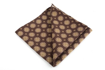Medallion Printed Silk Pocket Square - Brown/Creme