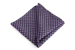 Diamond Printed Silk Pocket Square - Navy Blue/Purple