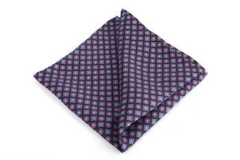 Diamond Printed Silk Pocket Square - Navy Blue/Purple
