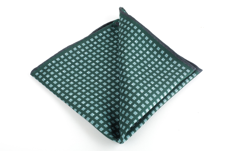Square/Pin dot Printed Silk Pocket Square - Green/Light Blue