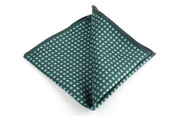 Square/Pin dot Printed Silk Pocket Square - Green/Light Blue