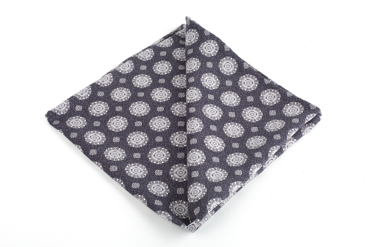 Medallion Printed Silk Pocket Square - Dark Grey/White