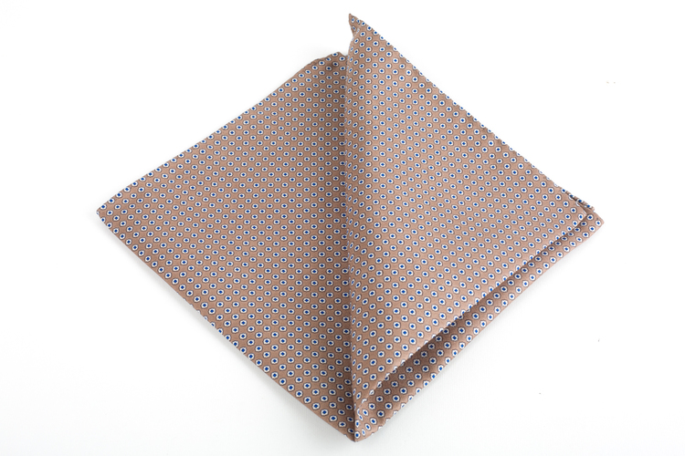Micro Square Printed Silk Pocket Square - Beige/White