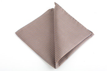 Micro Square Printed Silk Pocket Square - Beige/White