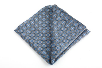 Medallion Printed Silk Pocket Square - Grey/Light Blue