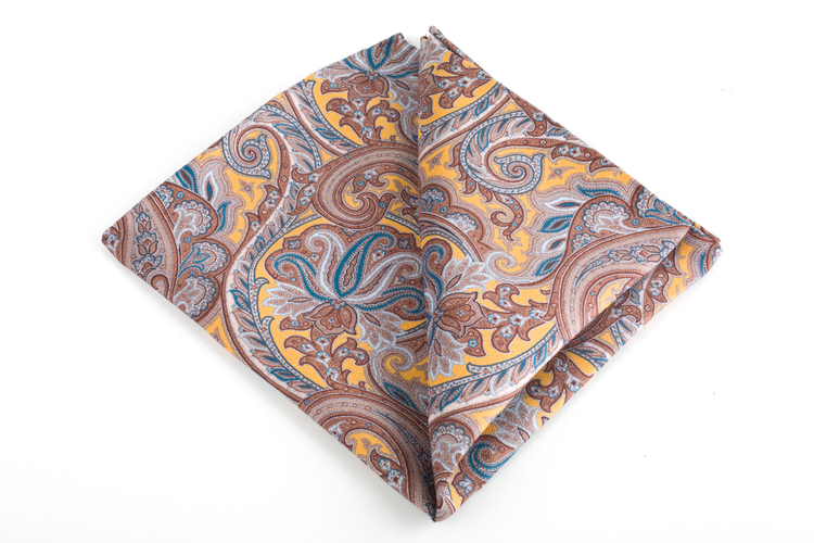 Paisley Vintage Silk Pocket Square - Vintage - Yellow/Brown
