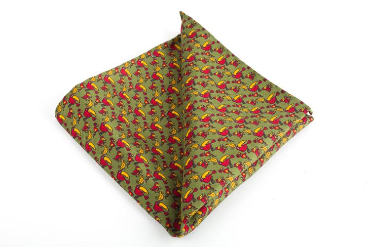 Tucano Vintage Silk Pocket Square - Vintage - Green/Yellow