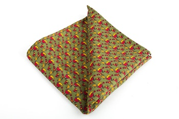 Tucano Vintage Silk Pocket Square - Vintage - Green/Yellow