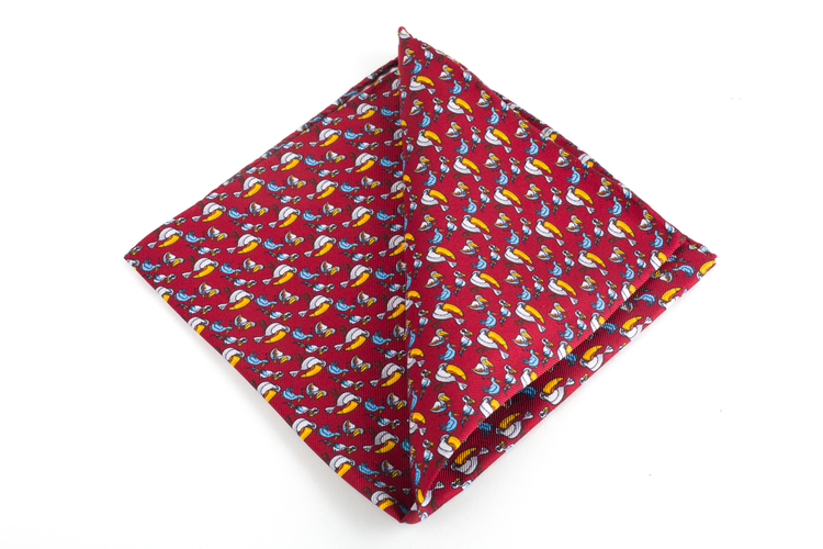 Tucano Printed Silk Pocket Square - Vintage - Burgundy/Yellow