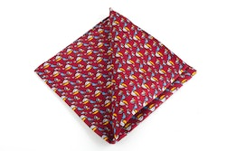 Tucano Vintage Silk Pocket Square - Vintage - Burgundy/Yellow