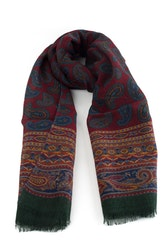 Paisley Printed Wool Scarf - Burgundy/Blue