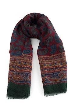 Paisley Printed Wool Scarf - Burgundy/Blue