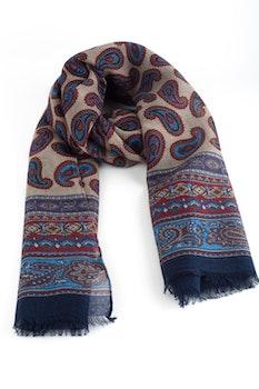 Paisley Printed Wool Scarf - Beige/Blue