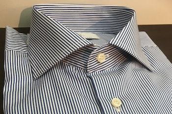 Bengal Stripe Twill Shirt - Cutaway - Navy Blue/White