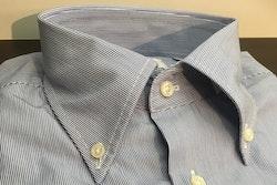 Thin Stripe Poplin Shirt - Button Down - Navy Blue/White