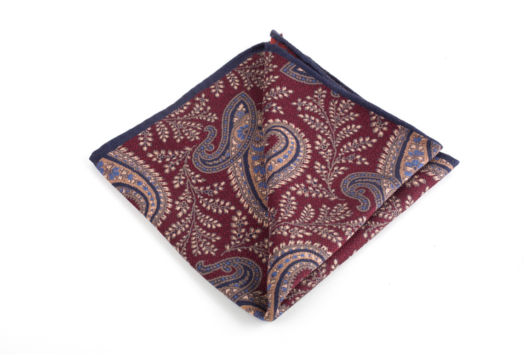 Paisley/Dots Silk/Wool Pocket Square - Double - Burgundy/Beige