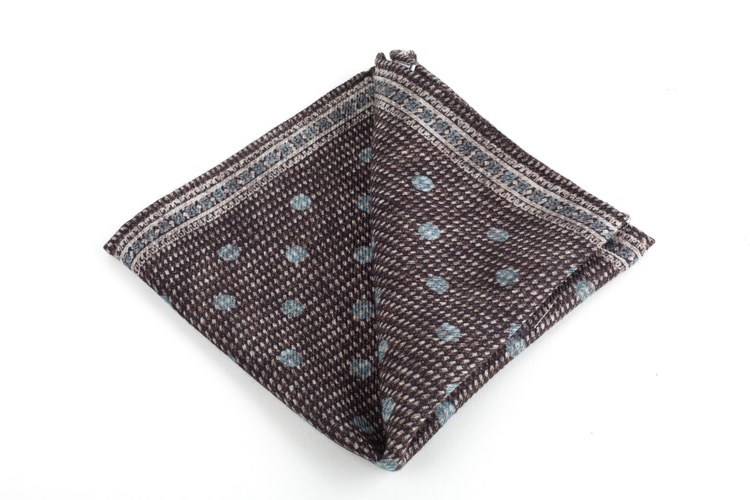 Polka Dots/Medallion Silk/Wool Pocket Square - Double - Brown/Light Blue
