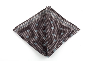 Polka Dots/Medallion Silk/Wool Pocket Square - Double - Brown/Light Blue