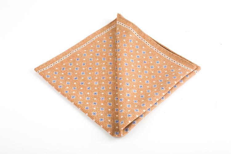 Floral/Check Silk Pocket Square - Double - Beige/Light Blue