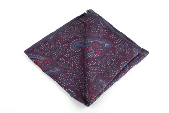 Paisley/Pindot Silk Pocket Square - Double - Purple/Grey