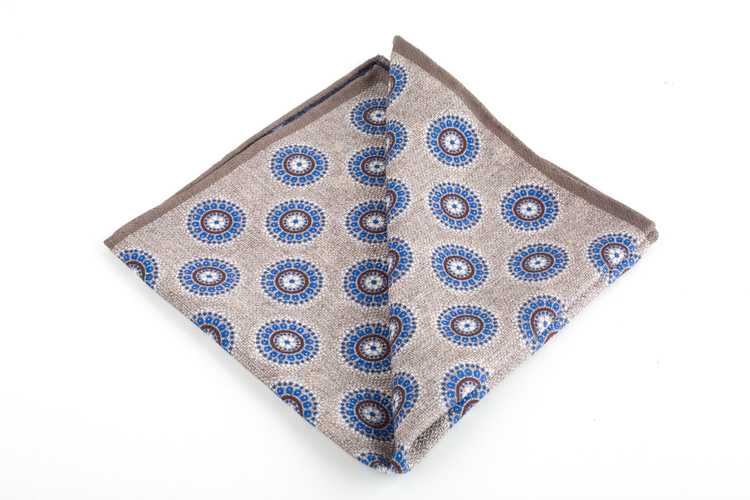 Medallion/Polka Silk Pocket Square - Double - Beige/Blue
