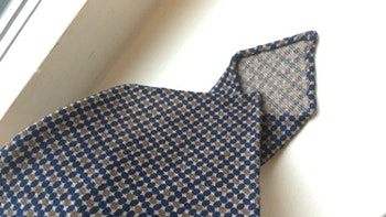 Floral Printed Wool Tie - Untipped - Navy Blue/Beige