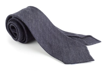 Solid Wool Grenadine Tie - Untipped - Dark Grey