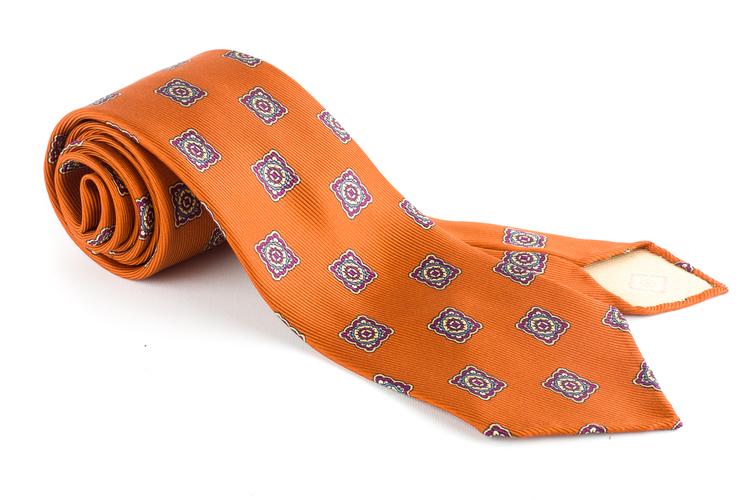 Medallion Printed Silk Tie - Untipped - Orange/Navy Blue