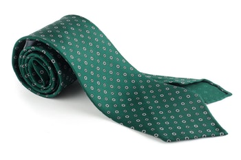 Floral Printed Silk Tie - Untipped - Green/White