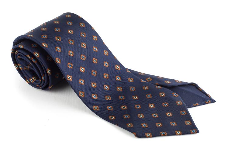 Medallion Printed Silk Tie - Untipped - Navy Blue/brown