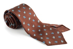 Fish Printed Silk Tie - Untipped - Brown/Light Blue