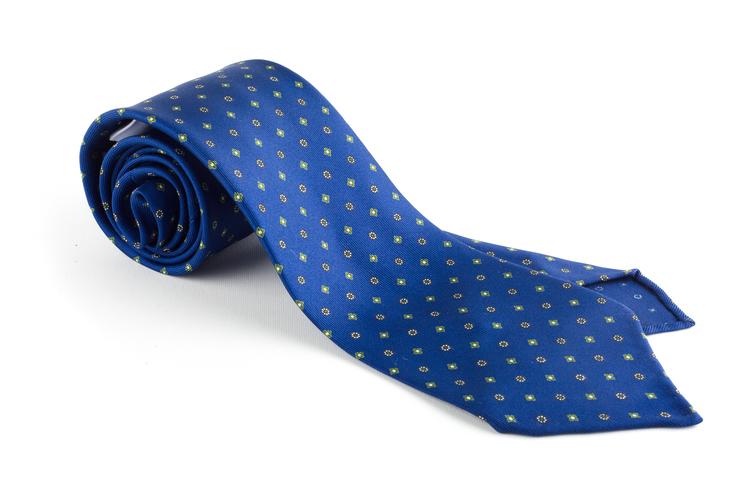 Floral Printed Silk Tie - Untipped - Mid Blue/Green