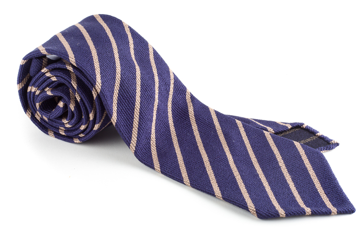 Wool/Silk Regimental Tie - Untipped - Navy Blue/Beige