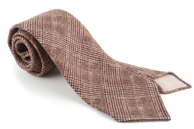 Glencheck Printed Wool Tie - Untipped - Brown/Beige