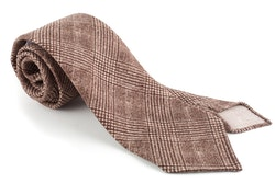 Glencheck Printed Wool Tie - Untipped - Brown/Beige