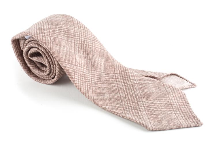 Glencheck Printed Wool Tie - Untipped - Beige