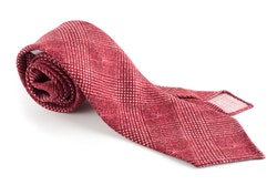 Glencheck Printed Wool Tie - Untipped - Red