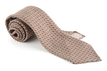 Checkered Printed Wool Tie - Untipped - Brown/Beige