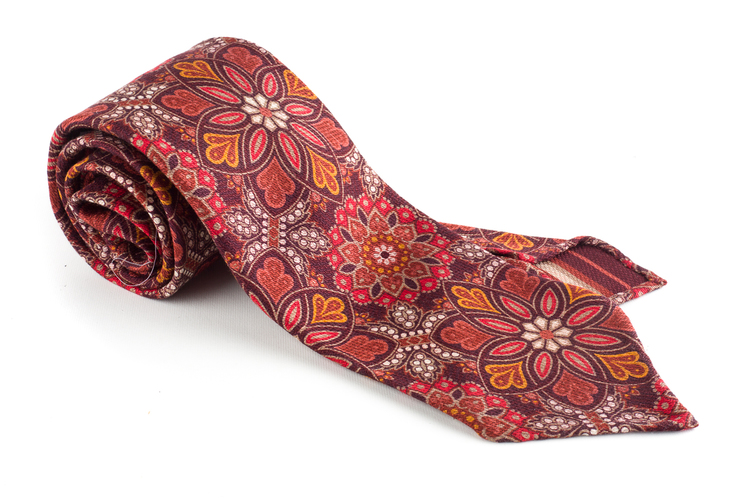 Grande Floral Printed Wool Tie - Untipped - Red