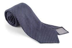 Floral Printed Wool Tie - Untipped - Navy Blue/Brown