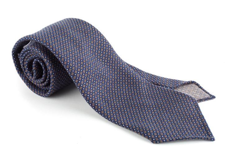 Micro Printed Wool Tie - Untipped - Navy Blue/Brown