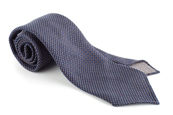 Micro Printed Wool Tie - Untipped - Navy Blue/Brown